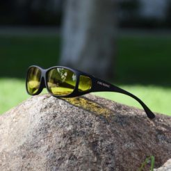 Mini Slim Cocoons fitover sunglasseswith Lemon lenses