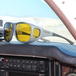 Fitover sunglasses protect from glare when flying