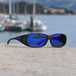 Mini Slim fitover sunglasses with blue mirror