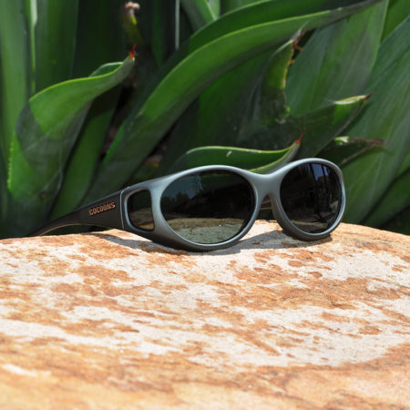 Cat-eye fitover sunglasses with gray lenses