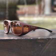 Burgundy Cocoons fitover sunglasses with copper lenses