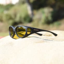 Black Cocoons fitover sunglasses with a polarized yellow lens system