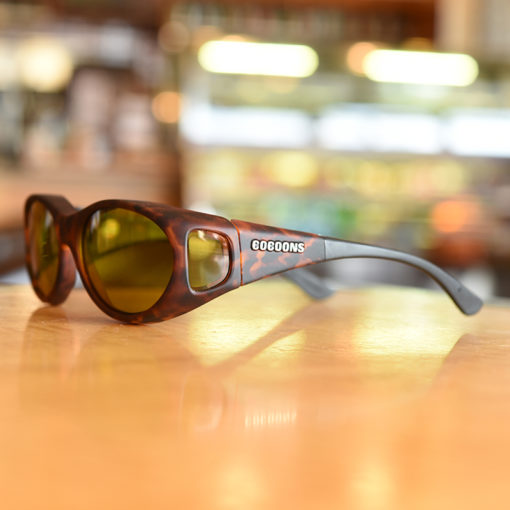 Tortoiseshell Cocoons fitover sunglasses with yellow