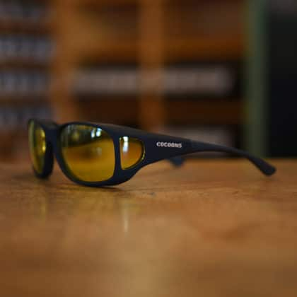 Low Vision fitover sunglasses with lemon lens filters