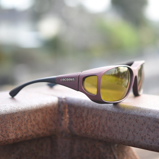 burgundy cocoons fitover sunglasses with lemon tint filters