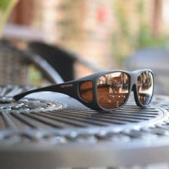 Large Cocoons fitover sunglasses with hazelnut lens system