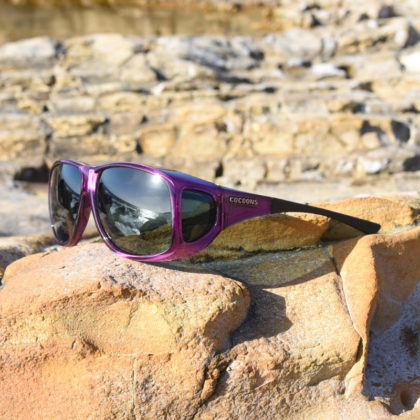 Cocoons fitover sunglasses - Aviator amethyst on rock