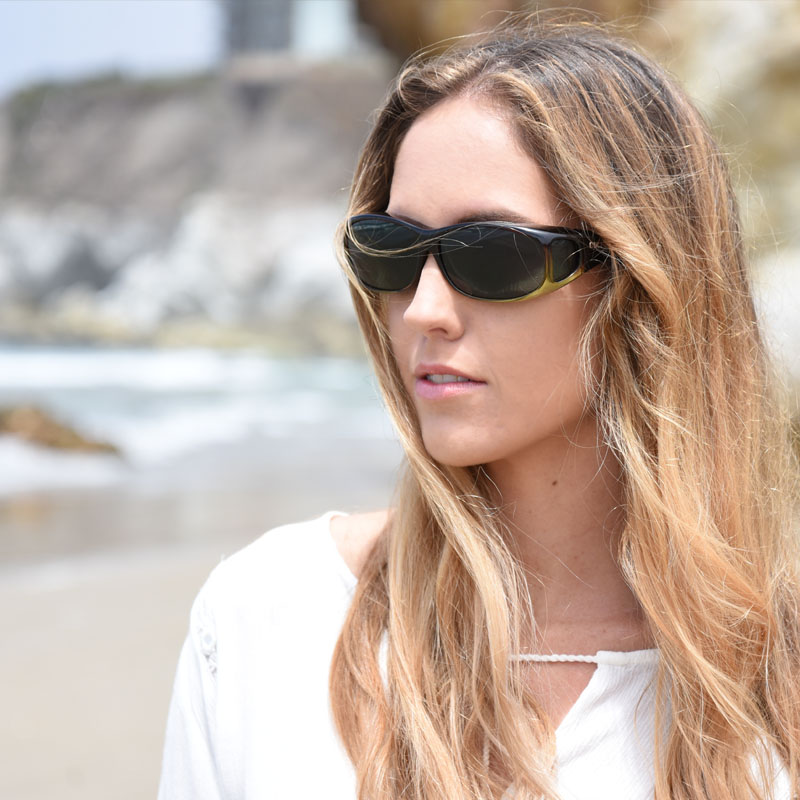 fashionable fitover sunglasses in caramel