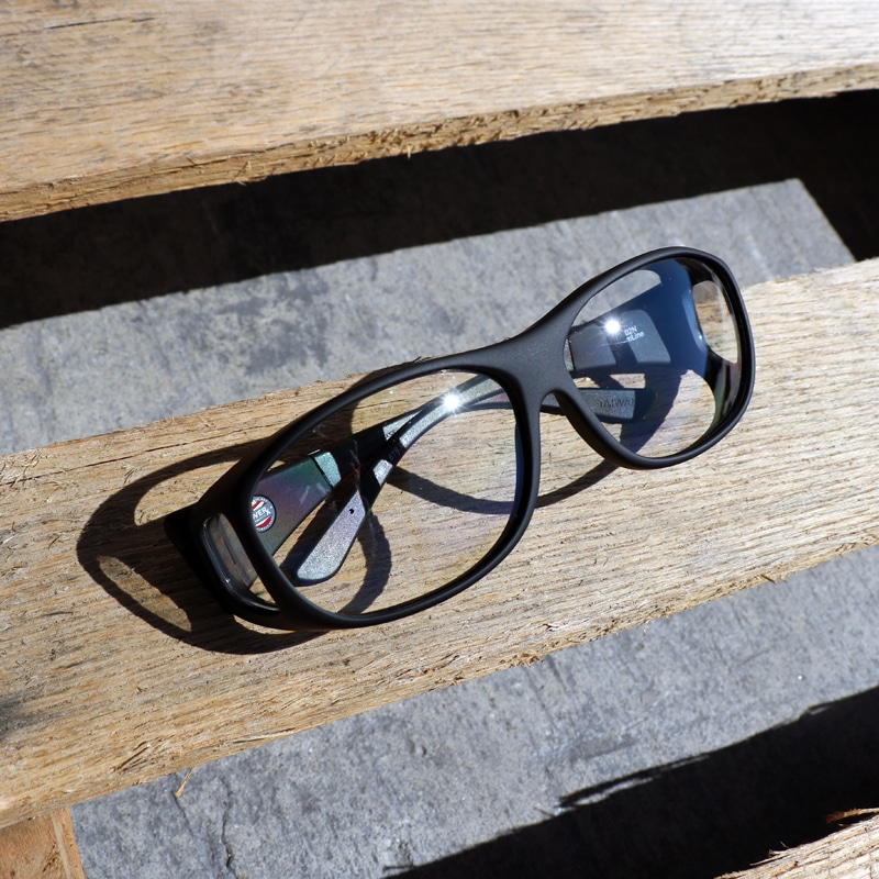 c85a00a28712 Clear polycarbonate lens system. Black is the new black in fitover  sunglasses