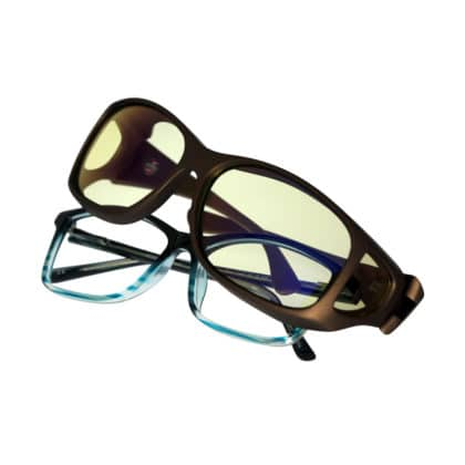 Cocoons Style Line fitovers have a large rectangle shape designed to fit over prescription eyewear that features full body rectangular shapes. Style line features an HEV blue light filter system
