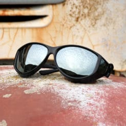 Large cat-eye fitover sunglasses with polarized silver mirror lenses