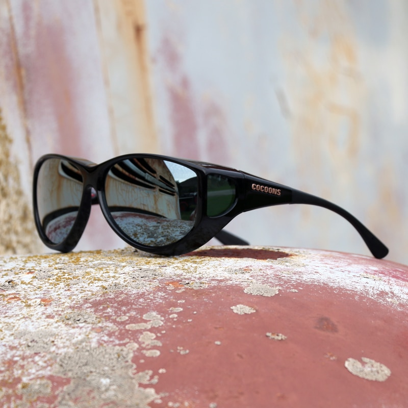 e6d30bb941 Large cat-eye fitover sunglasses with polarized silver mirror lenses