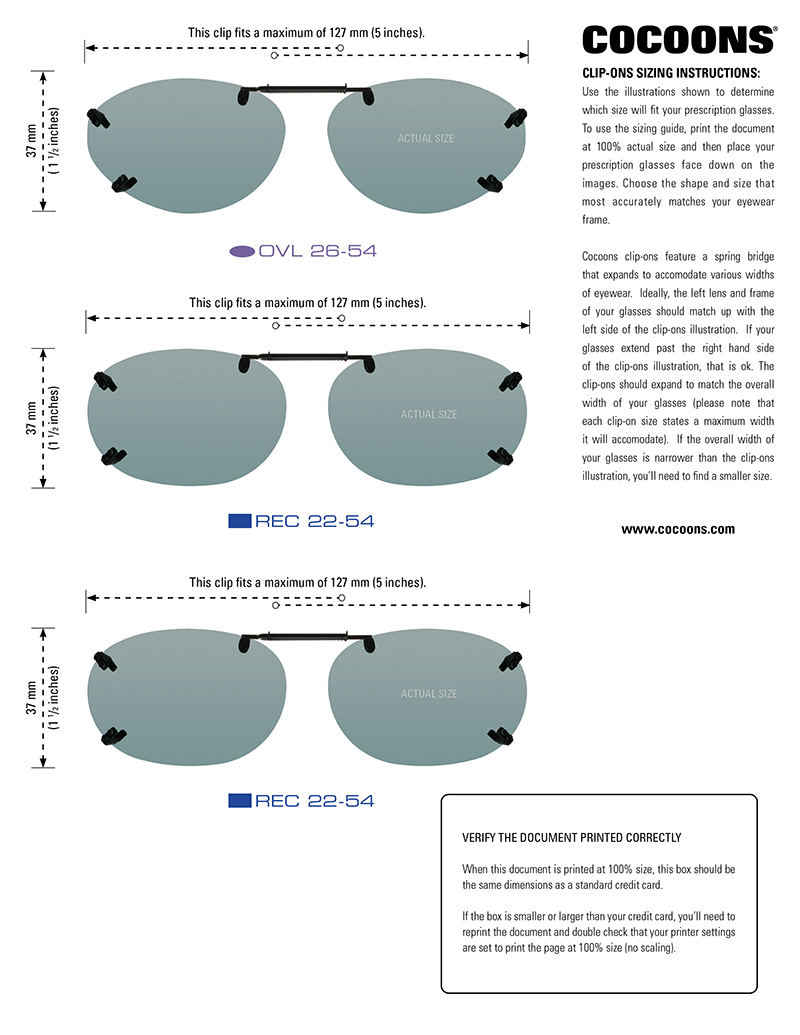 Link to Cocoons Sizing Guide for Rimless Clip-Ons